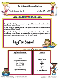 School Newsletter creator site - Samples Available or paid membership