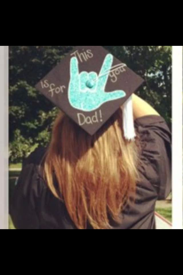 """Grad cap design: """"I love you"""" sign language, parent appreciation"""