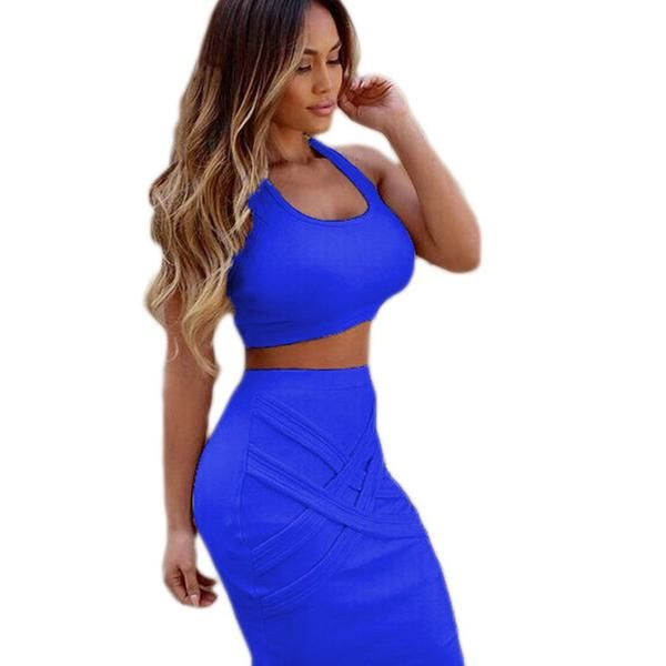 Two Piece Outfit Bandage Sleeveless Sexy Club Party Dress Kylie Jenner Style -  - 1