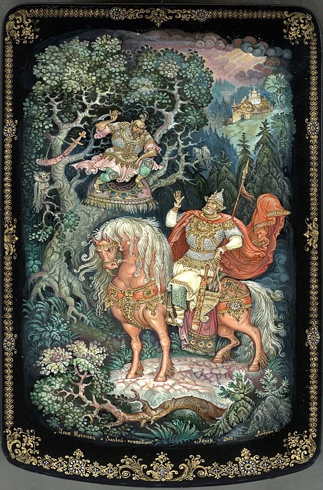 Russian lacquer miniature from the village of Kholuy. Ilya-Muromets the knight, a character of traditional tales