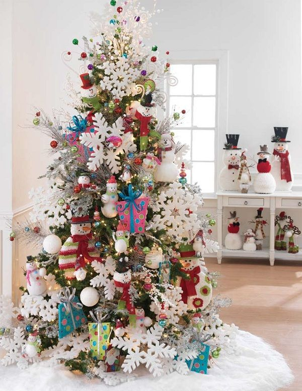 Frostyland decorated Christmas tree by RAZ featuring snowmen and snowflakes with wintery white and blue colors.  visit our decorated tree page to find the recipe for this tree, links to items used and more http://www.shelleybhomeandholiday.com/raz-frostyland-decorated-christmas-tree.html