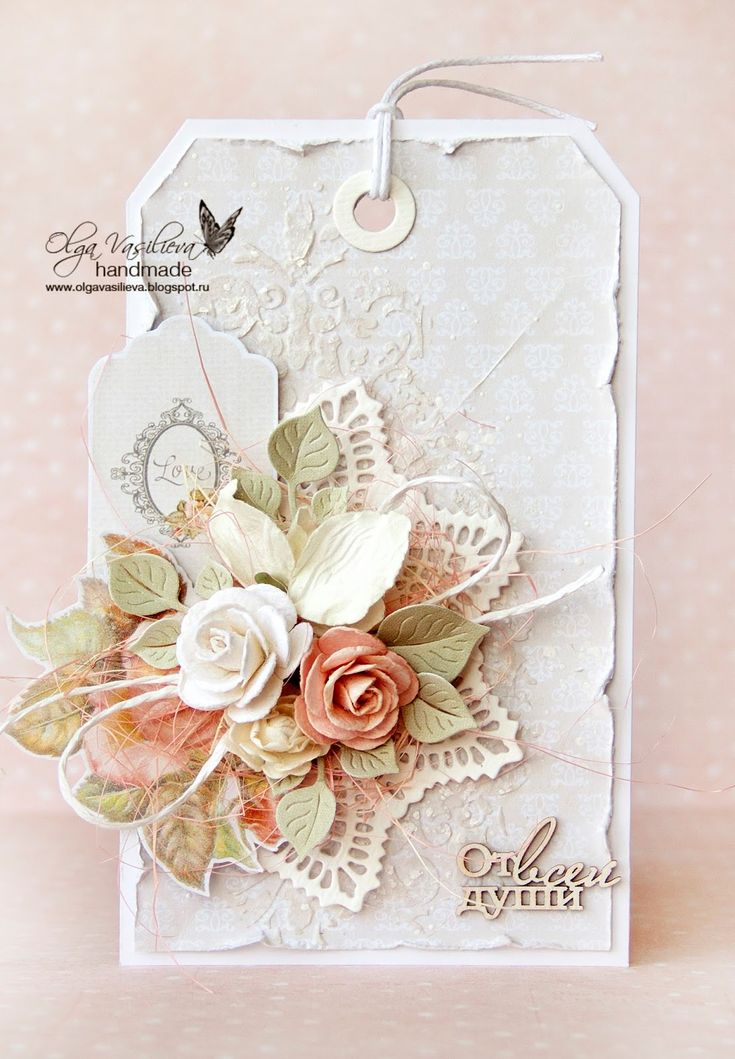 card big tag card vintage flowers leaves prima doily - Scrap story ...: New card for Studio75