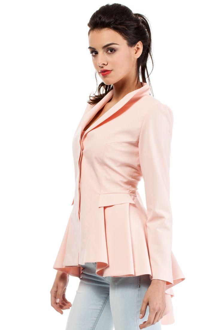 Asymetryczny żakiet damski MOE165 baby pink