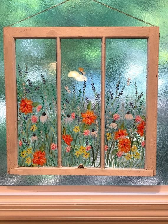 Old Painted Windowsold But You Can Custom Order Your Etsy Painted Window Art Window Painting Window Art