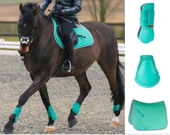 Ensemble cheval tapis + guêtre pour 57 € disponible en plusieurs couleurs sur :www.horze.fr