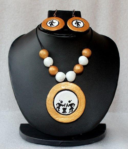 Warli print #terracotta #necklace set with 36% discount at #craftshopsindia