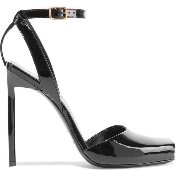 Saint Laurent Edie patent-leather sandals ($750) ❤ liked on Polyvore featuring shoes, sandals, peep toe sandals, black strap sandals, ankle strap sandals, black stilettos and strappy high heel sandals