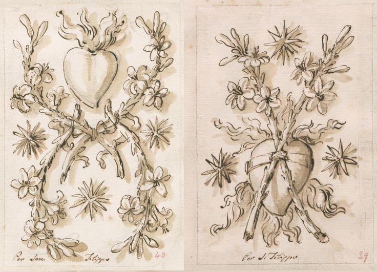 Studio per due elementi decorativi raffiguranti il Sacro Cuore per la chiesa di San Filippo a Torino, 1735