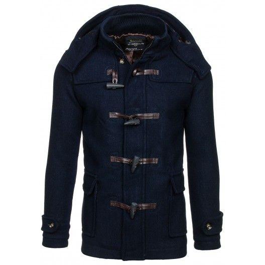 Pánsky jesenný tmavo modrý kabát - fashionday.eu
