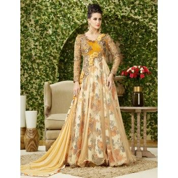 Net Machine Work Cream Floral Print Semi Stitched Long Anarkali Suit - P4004