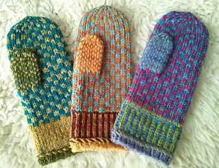 These mittens work up quickly and easily in worsted weight yarn. The stranded patterns are simple: you can knit while watching a movie or cheering on your favorite sports team. Use one 50 g. skein of multi-colored yarn and small amounts of three solid colors. Have fun selecting the colors!