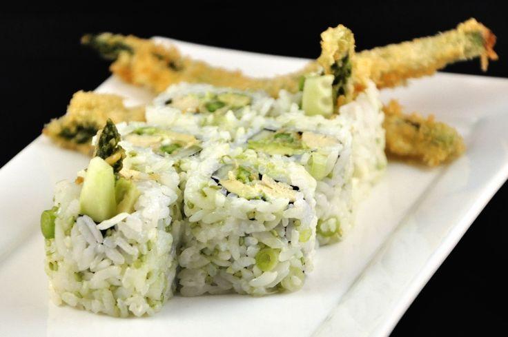 Vegetarische sushi: Groene asperges in Tempura!