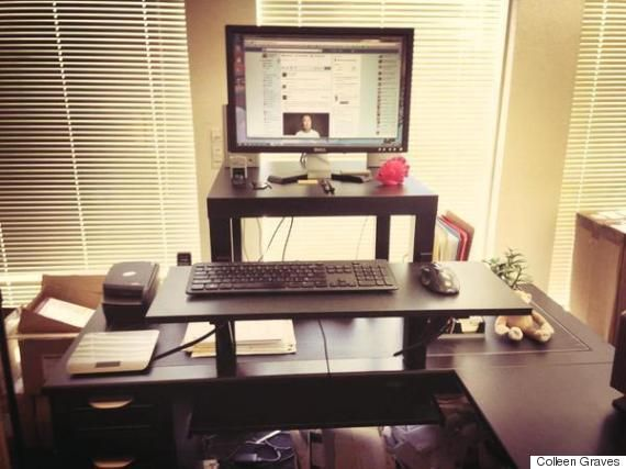 This 22 Standing Desk Is The Ultimate Ikea Hack Huffpost Ikea Standing Desk Diy Standing Desk Standing Desk Hack