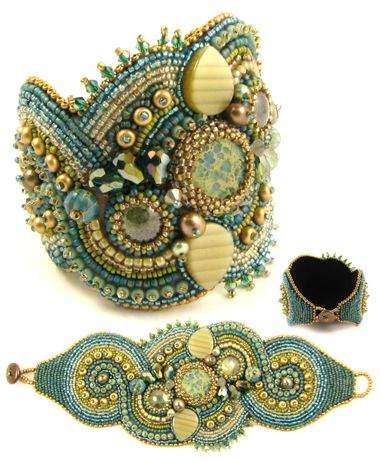 The unusual materials include aqua terra jasper center stone and rondelles, vintage acrylic teardrop cabochons, Czech glass round cabochons, crystal bicones, Czech and Japanese seed beads, freshwater pearls, freshwater pearl button ...