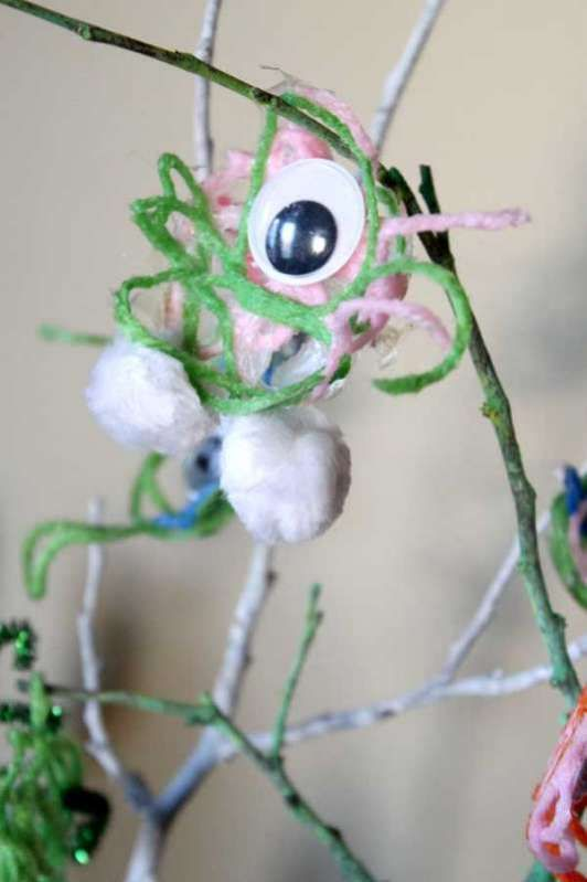 The kids can create googly one-eyed yarn monsters as a fun and not-so-spooky Halloween craft for kids! Monsters can be anything, yarn and eyes included!