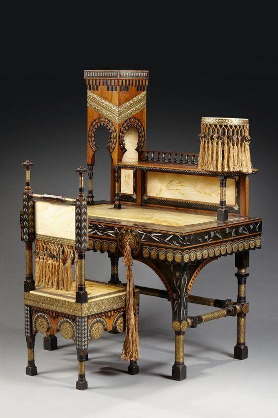 Carlo bugatti 1856 1940 bureau mosquee et sa chaise for Chaise 1940