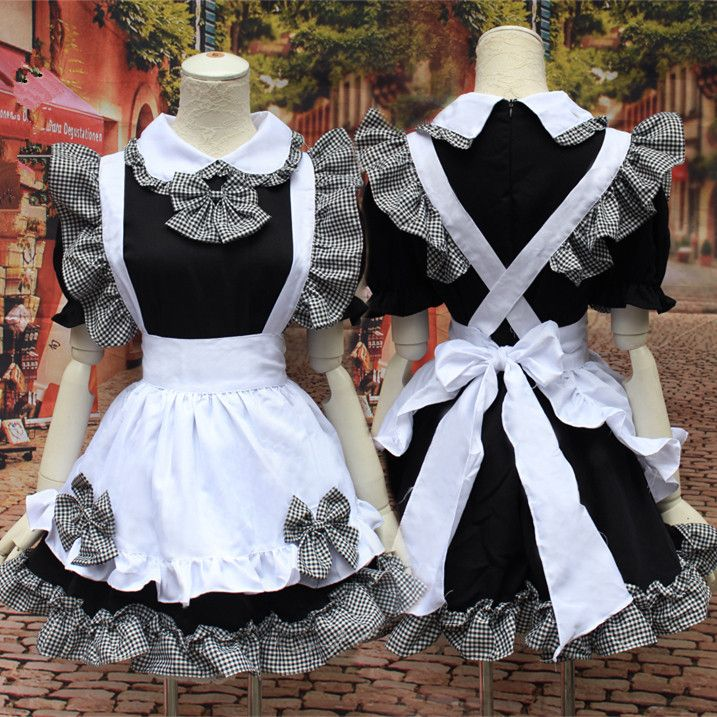 Grey Black Dress Maid Cosplay Costume SP153600