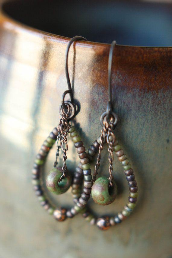 Copper Czech Glass Seed Bead Dangle Earrings by Sparrowtaledesign