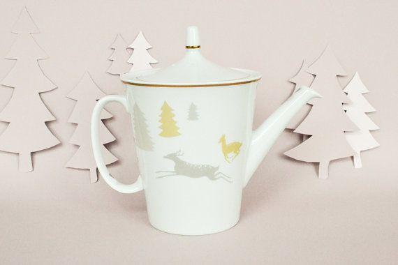 lllustrated deers on vintage teapot by StudioRobinPieterse on Etsy, $65.00