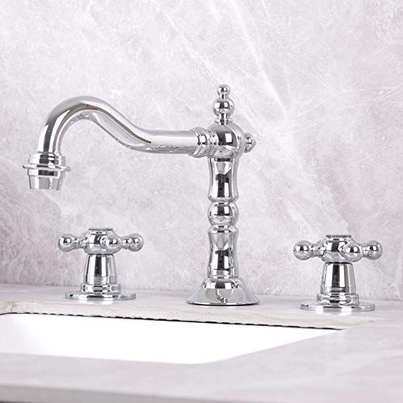 Kaima Bathroom Faucet Three Holes Two Handle Bathroom Sink Faucet Chrome Finished Bathroom Sink Faucets Chrome Faucets Bathroom Vintage Bathroom Sink Faucets