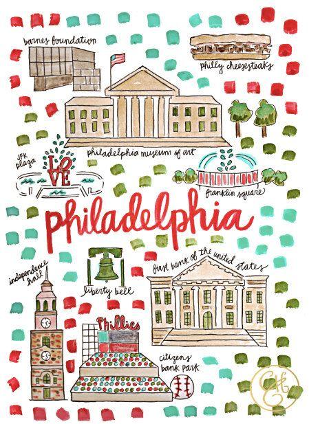 Philadelphia Map Print by EvelynHenson on Etsy