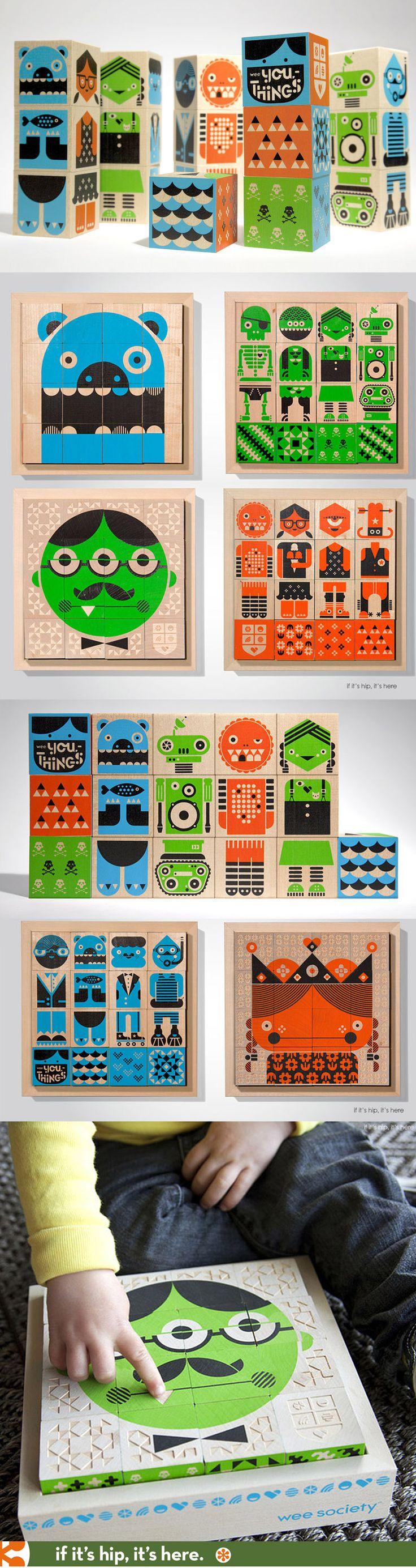 Wee You-Things blocks for kids are made from replaceable basswood and use non-toxic inks for printing the great graphics.
