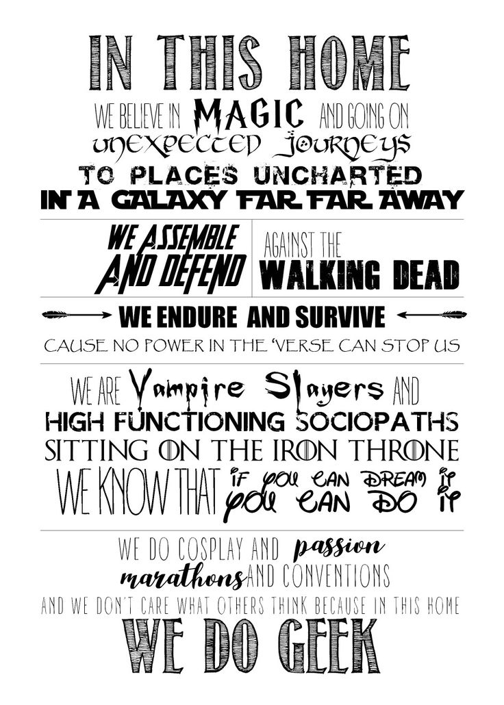 "Selfmade ""We do geek"" poster that fits our fandoms"