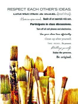 Hang this poster (sized at 18 x 24) in your art classroom as a simple, visual reminder to all students as a reminder about how to be the best artist they can be! Class rules and expectations are displayed using interesting fonts and a simple visual.