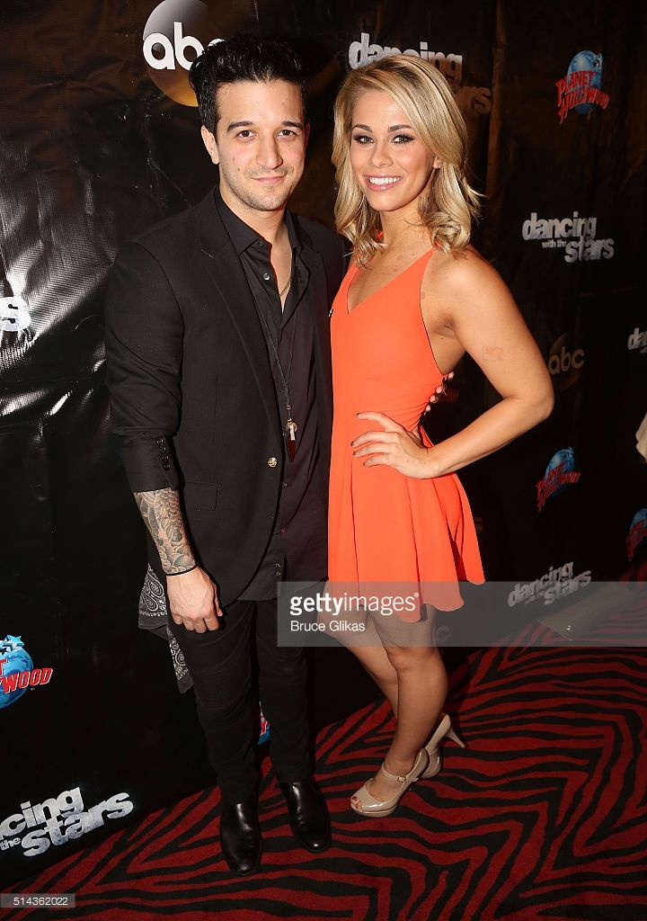 Mark Ballas and partner Paige VanZant pose at the 22nd Season Stars of ABC's 'Dancing With The Stars' cast announcement at Planet Hollywood Times Square on March 8, 2016 in New York City.