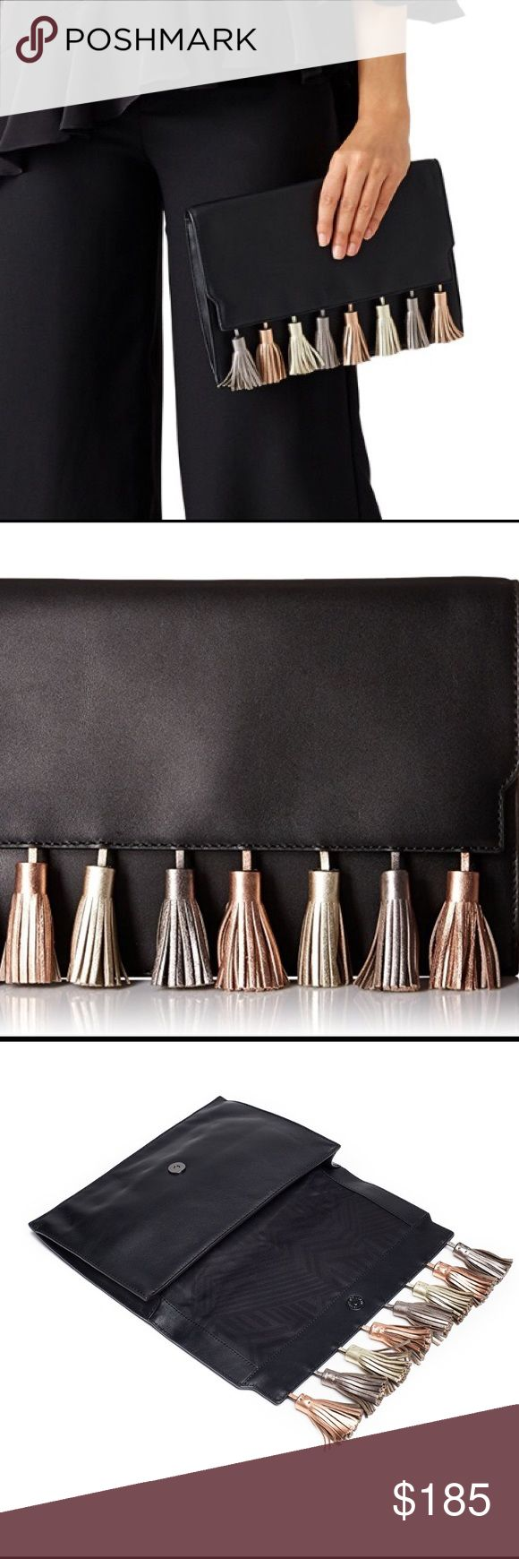 """🎉HP🎉NWT Rebecca Minkoff Metallic Clutch Rebecca Minkoff Metallic Clutch Bag!!!!!   Black leather clutch with multicolored metallic tassel accents. Top flap closure and hidden adjustable shoulder strap with a 23.5"""" drop. Slim back pocket abd a lined, 2-pocket interior. 7.75""""L x 11.5""""W x 1""""D.  Gorgeous Bag!! Rebecca Minkoff Bags Clutches & Wristlets"""
