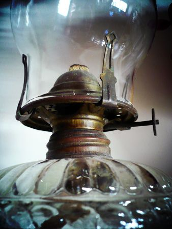 Old glass oil lamps