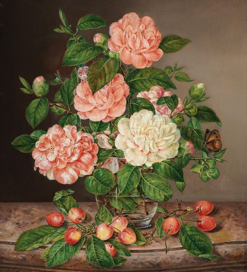 Antonia Fiedler (Austrian, 1825 - 1876): Roses in a vase with cherry branches (via Dorotheum)