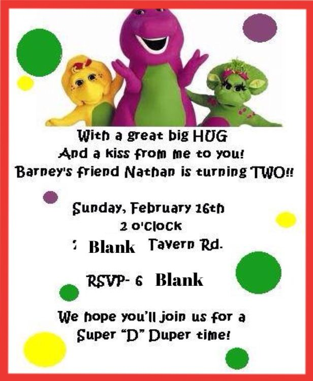 3ac411eb6612a6b83eb87078b5d0e0c6 barney birthday party barney party 18 best images about barney party on pinterest,Barney Birthday Invitations Free