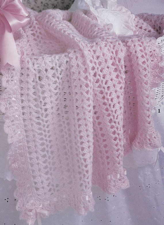Baby Afghan Crochet Patterns Ruffles & Ribbons by PaperButtercup