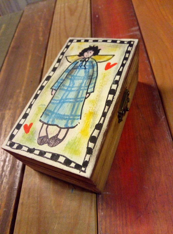 small wooden box handpainting
