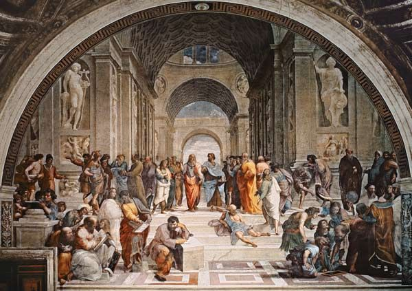 Raphael - The School of Athens (1509/1510) This picture symbolizes the Renaissance because it shows so many famous people from the Renaissance Era in just one picture. Such as Da Vinci and Michelangelo and even Rapheal himself.