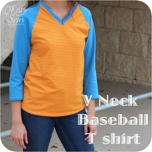 V-Neck Baseball (Raglan) T-shirt Free Pattern - Melly Sews