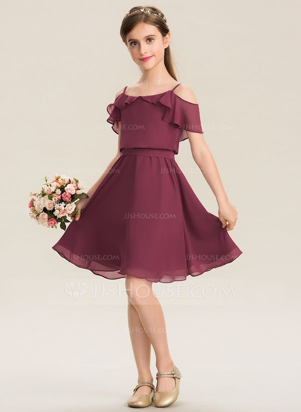 140afc5324d A-Line Square Neckline Knee-Length Chiffon Junior Bridesmaid Dress With  Bow(s) Cascading Ruffles