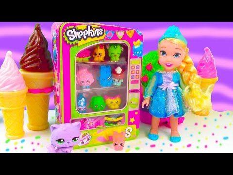 Barbie Vending Machine of Shopkins Season 3 with Disney Frozen Queen Elsa, Prince Hans, Doll Video - YouTube