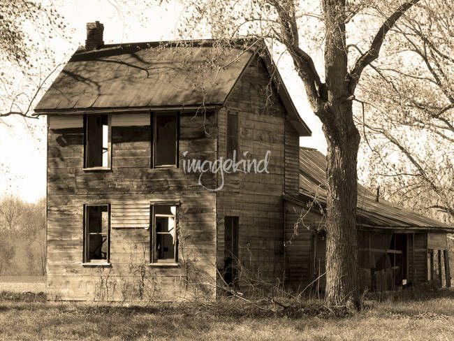 """""""Time has Forgotten"""" by Chris Wolters Photography, Missouri // An old abandoned house outside of Chamois Missouri that has definitely seen some better days!  My girlfriend's mom used to ice skate behind this house if parts of the field was iced over during the winter.  She remembered the people that lived there, who now live in... // Imagekind.com -- Buy stunning, museum-quality fine art prints, framed prints, and canvas prints directly from independent working artists and photographers."""