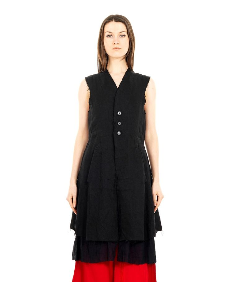 A TENTATIVE ATELIER WAISTCOAT-DRESS S/S 2016 Waistcoat dress  without revers  two front pockets inside waist coulisse   front buttoning  visible lining  raw cut seams  100 % Linen  Specialized wash