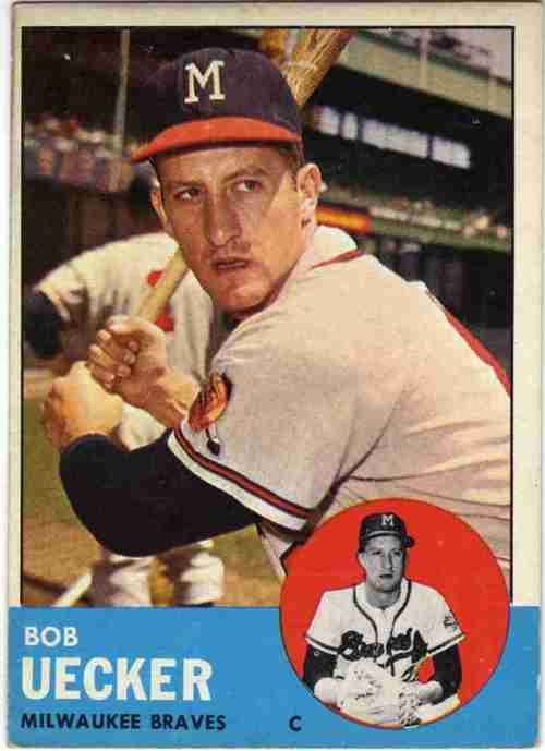 Bob Uecker's baseball card when he was a Milwaukee Brave. He is a true sports legend. Yes, he is.