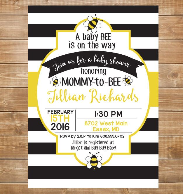 Baby Bee Shower Invitation, Black and Gold, Baby Bee on the Way, Digital File, Printable File, Mommy to Bee by chevronprintables on Etsy https://www.etsy.com/listing/271344235/baby-bee-shower-invitation-black-and