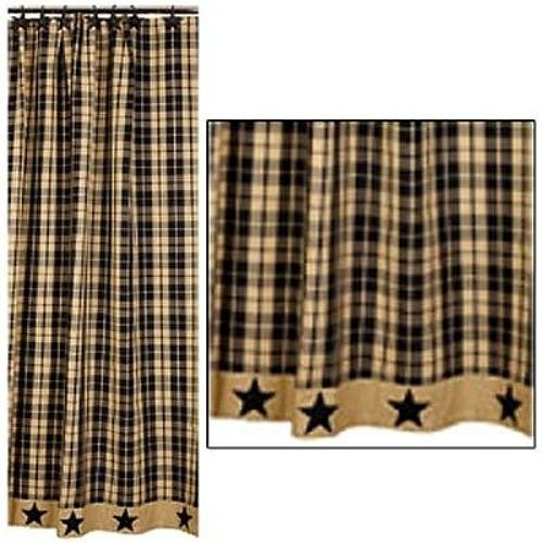 New Primitive Country Farmhouse BLACK STAR Tan Plaid Fabric Shower Curtain #YHD #Country