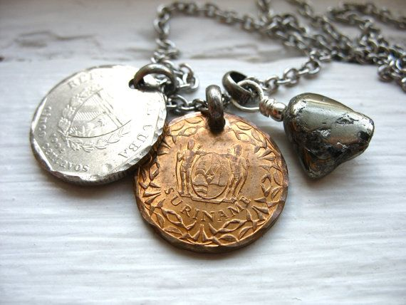 Coin Jewelry Pyrite Gemstone Coin Charm by LuminousCreation, $26.00