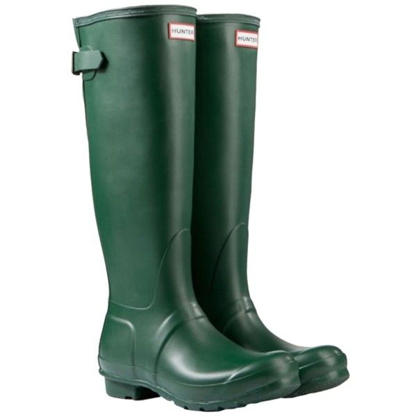 Pre-owned Hunter Adjustable Back Matte Rain Hunter Green Boots ($150) ❤ liked on Polyvore featuring shoes, boots, hunter green, pre owned shoes, hunter footwear, hunter shoes, green hunter boots and rubber shoes