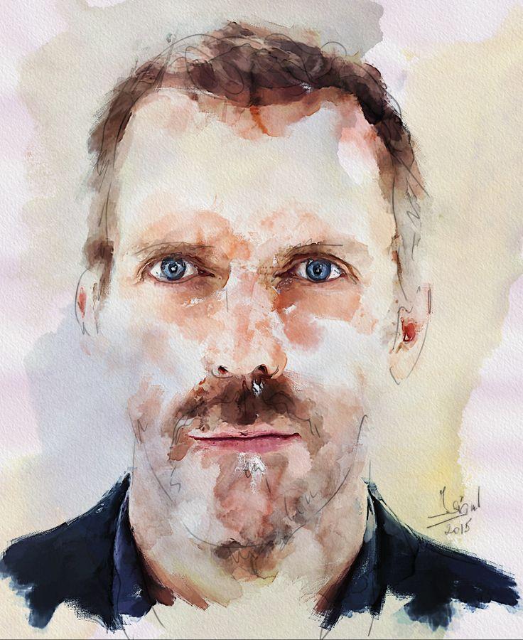https://flic.kr/p/QkQV1A | Hugh Laurie | Mixed media - Giclée - Paper - 46x56 cm By: Zsigmond István - Hungary - 2015