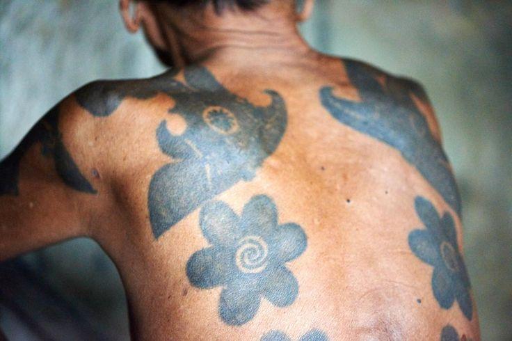 Bunga terung. Iban tribe tattoos