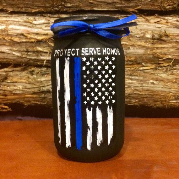 Police Officer Gift Thin Blue Line Distressed by AmericanaGloriana