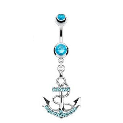 Gem Paved Fancy Anchor Ship Boat Wheel Navel Ring Aqua CZ Gems Dangle Belly Button Piercing Jewelry | Click on the image for details...
